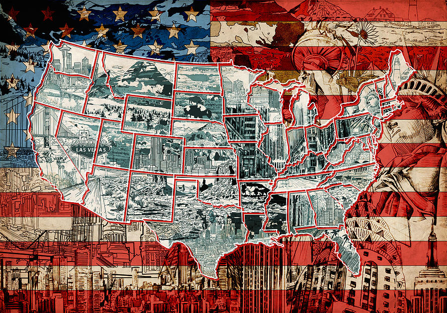 Us Map Photo Collage United States Drawing Collage Map 6 Painting by Bekim M