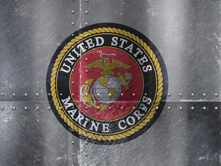 United States Mixed Media - United States Marines Logo On Riveted Steel by Design Turnpike