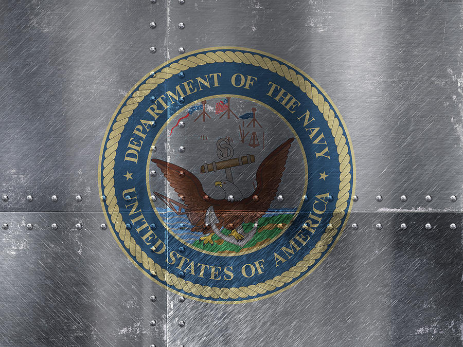 United States Mixed Media - United States Navy Logo On Riveted Steel Boat Side by Design Turnpike