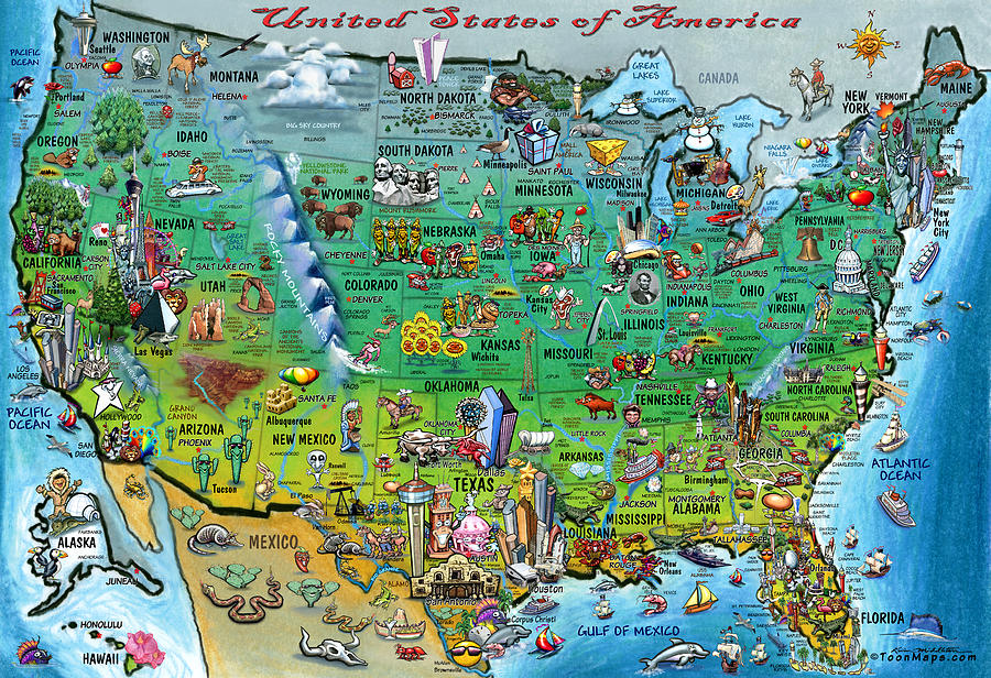 Map Of America Usa.United States Of America Fun Map By Kevin Middleton