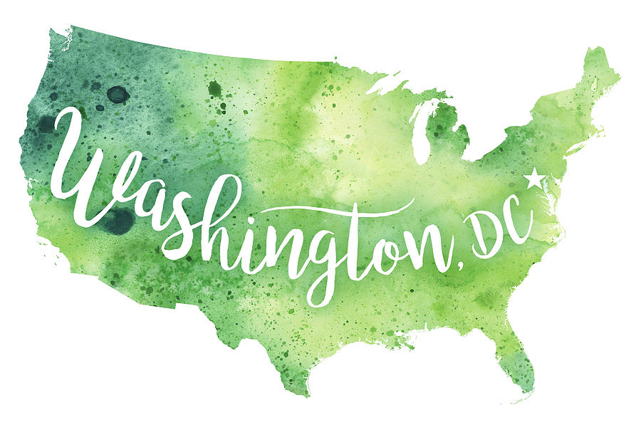United States Of America Watercolor Map Washington D C Hand - Us map with washington dc