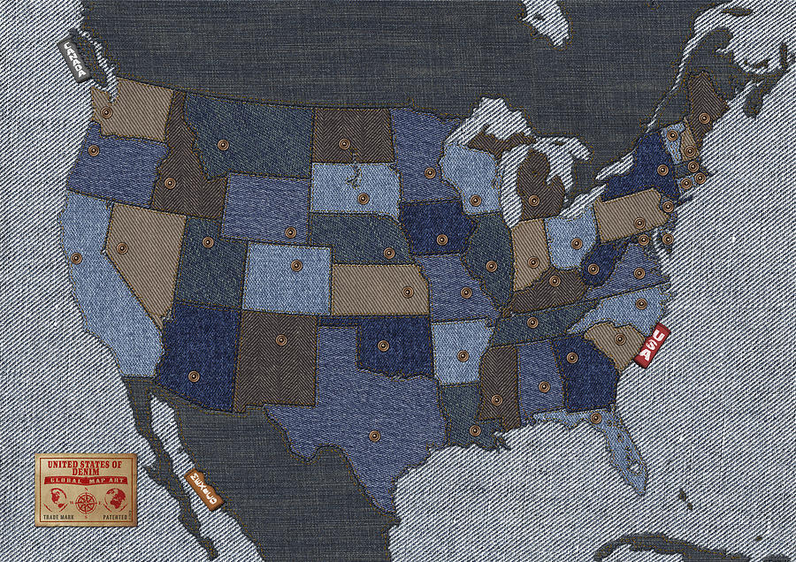 Usa Digital Art - United States Of Denim by Michael Tompsett