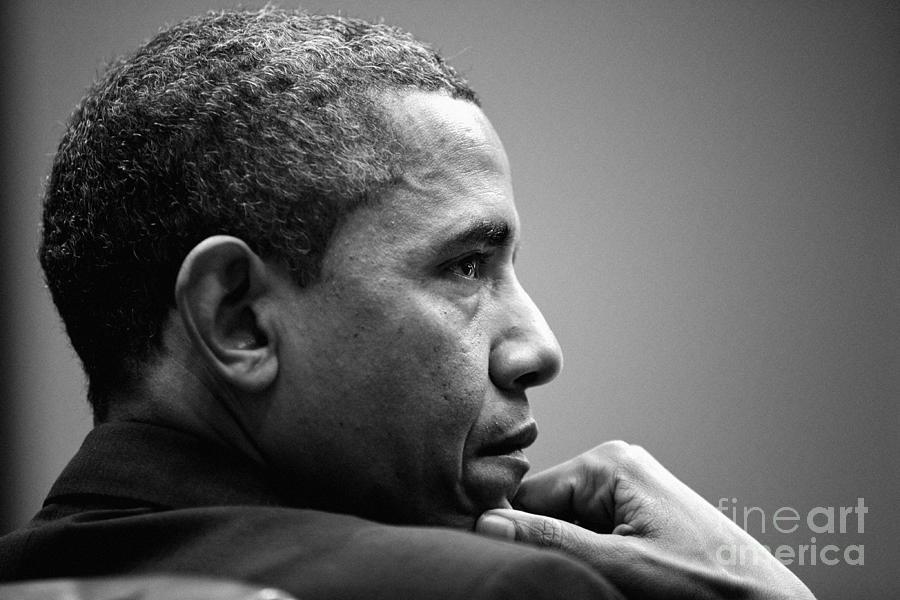 United States President Barack Obama Bw Photograph