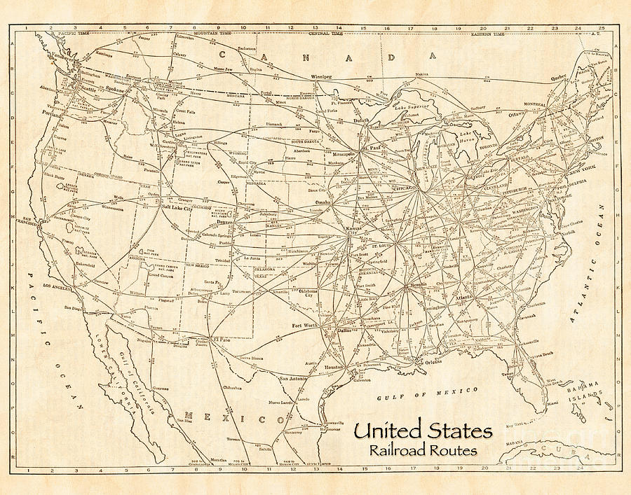 United States Railroad Routes Antique Vintage Country Map Photograph