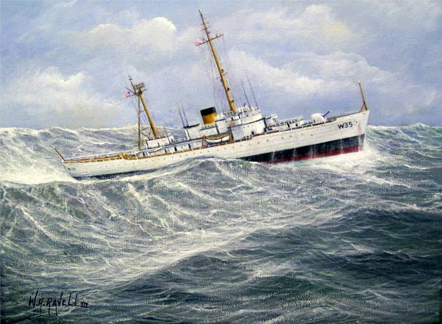United Statescoast Guard Cutter Ingham Painting by William H RaVell III