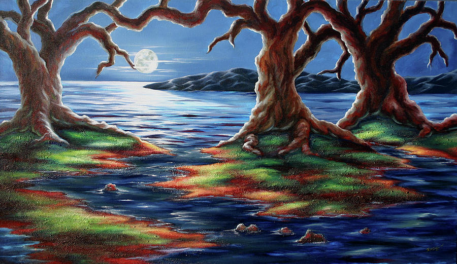Night Landscape Painting - United Trees by Jennifer McDuffie
