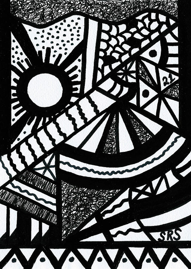 Abstract Drawing - Night And Day 2 by Susan Schanerman