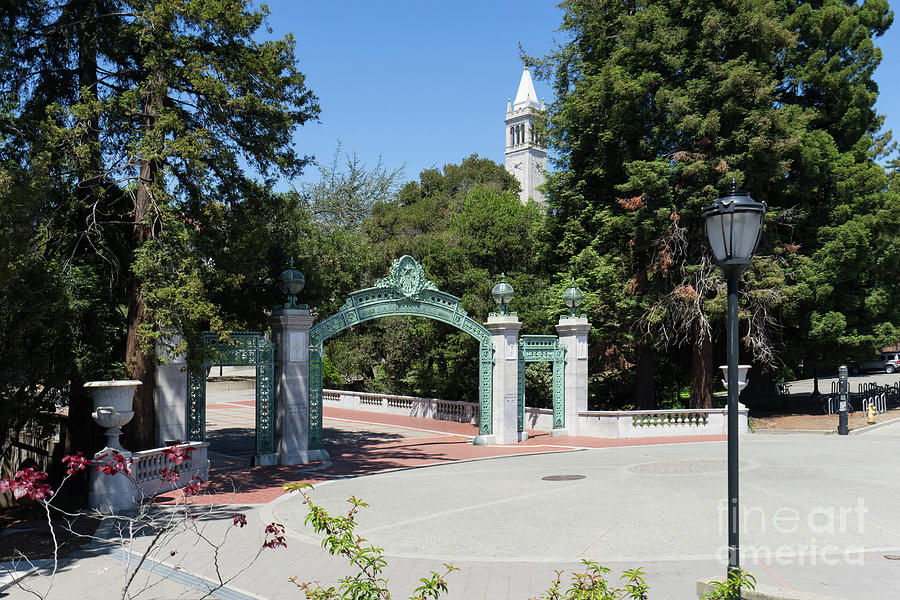 University of California at Berkeley Sproul Plaza Sather Gate and Sather Tower Campanile DSC6261 by Wingsdomain Art and Photography