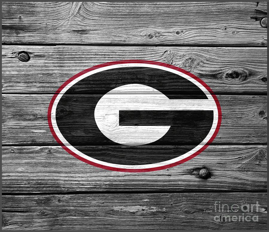 University Of Georgia Bulldogs Logo On Weathered Wood By John Stephens
