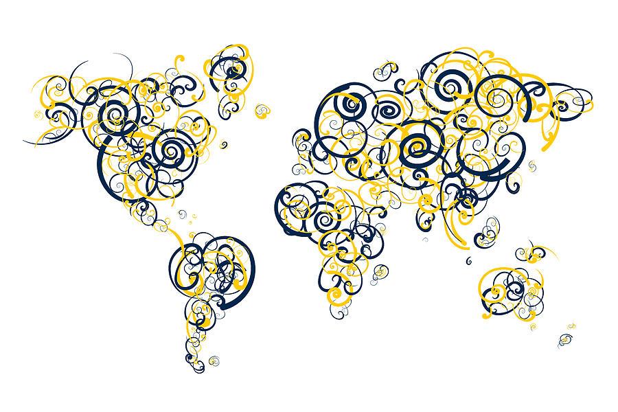 University of michigan colors swirl map of the world atlas digital globe digital art university of michigan colors swirl map of the world atlas by jurq gumiabroncs Gallery