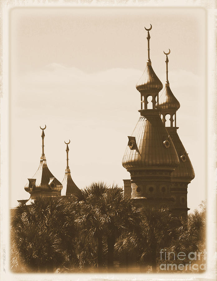 Tampa Photograph - University Of Tampa Minarets With Old Postcard Framing by Carol Groenen