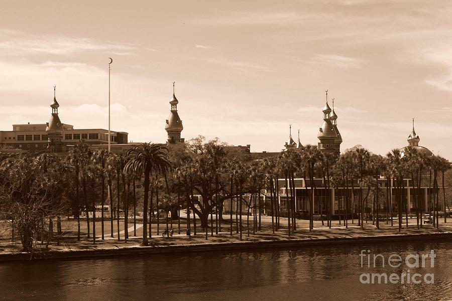 Tampa Photograph - University Of Tampa With River - Sepia by Carol Groenen