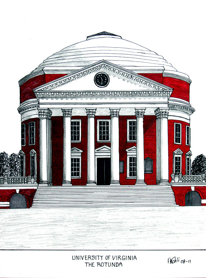 Pen And Ink Drawings Drawing - University Of Virginia by Frederic Kohli