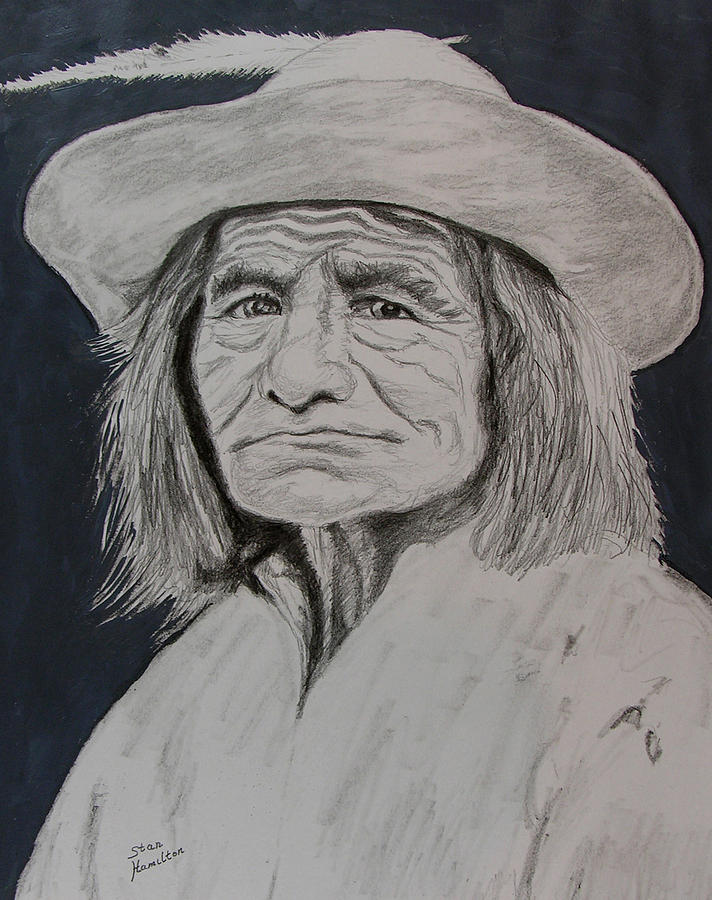 Graphite Drawing - Unknown Indian Vi by Stan Hamilton