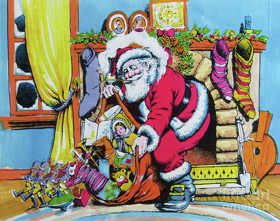 Santa Drawing - Unloading The Toys by Don Locke