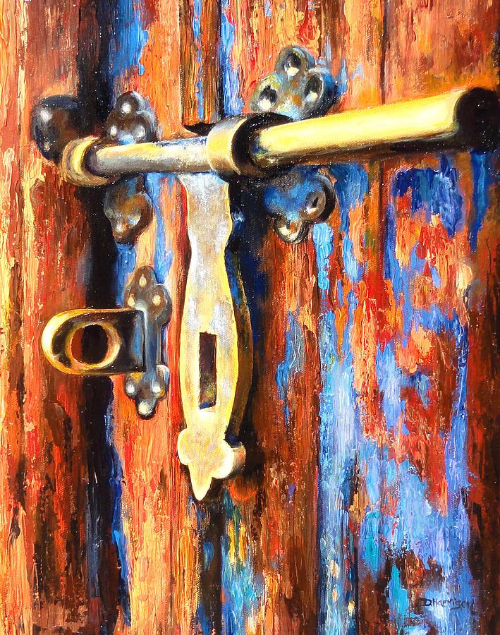 Old Door Painting - Unlocked by Denise H Cooperman