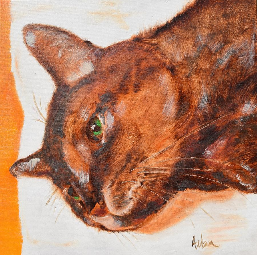 Cat Painting - Uno by Amber Foote