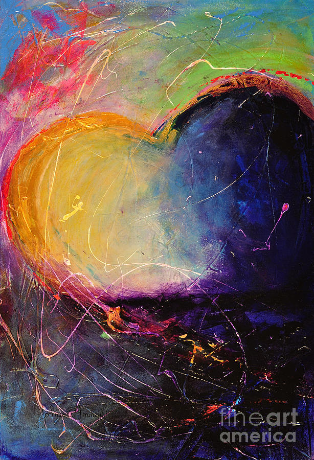 Heart Painting - Unrestricted Heart Sunset Colors by Johane Amirault