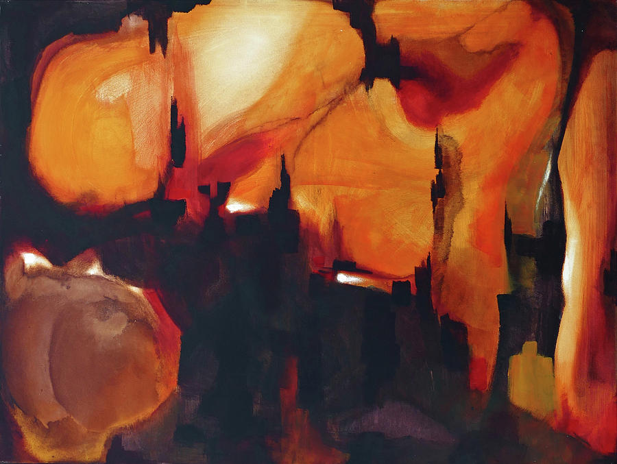 Abstract Painting - Orange Lime Cave -right Panel- by Sergio Caggia
