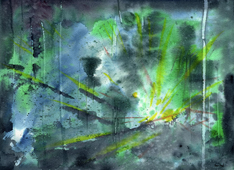 Abstract Painting - Untitled Abstract Watercolor by Sean Seal