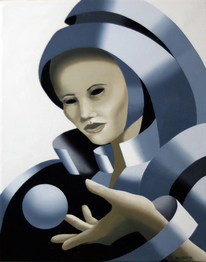 Abstract Painting - Untitled Futurist Mask Oil Painting by Mark Webster