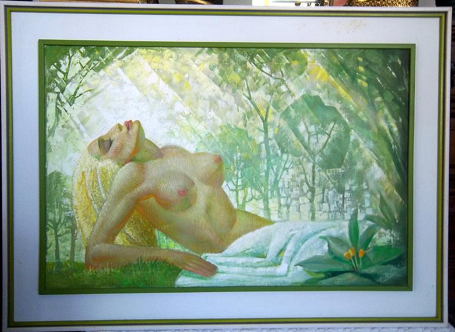 Stain Glass Painting - Untitled Nude by Conrad Pickel