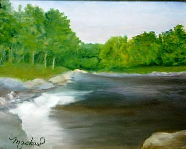 River Painting - Untitled Plein Aire by Sheila Mashaw