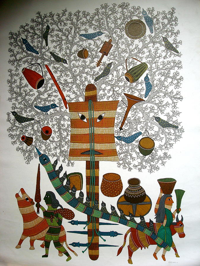Untitled Painting by Rajendra Shyam