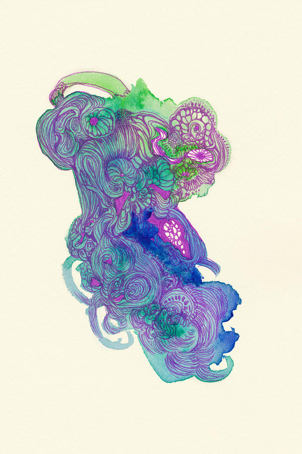Fish Drawing - Untitled - #ss14dw037 by Satomi Sugimoto