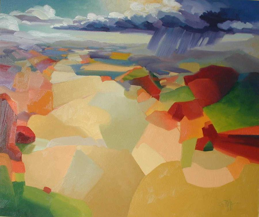 Abstract Painting - Untitled Valley View by R Raya