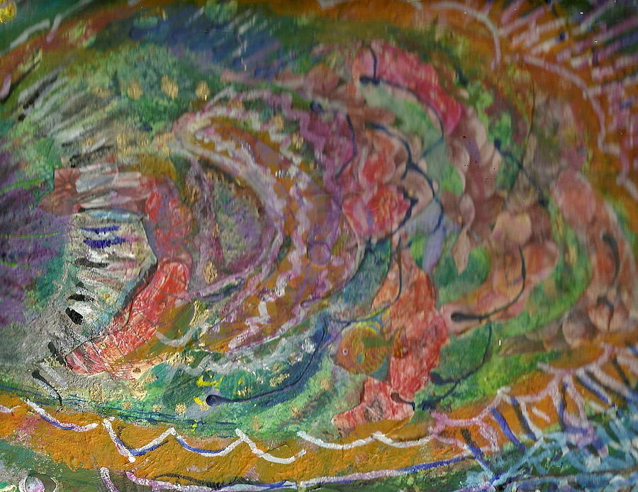 Fish Fins Mixed Media - Untitled Work In Progress by Anne-Elizabeth Whiteway