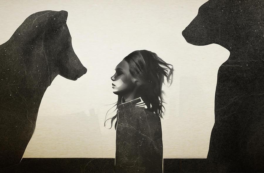 Girl Mixed Media - Unusual Encounter by Ruben Ireland
