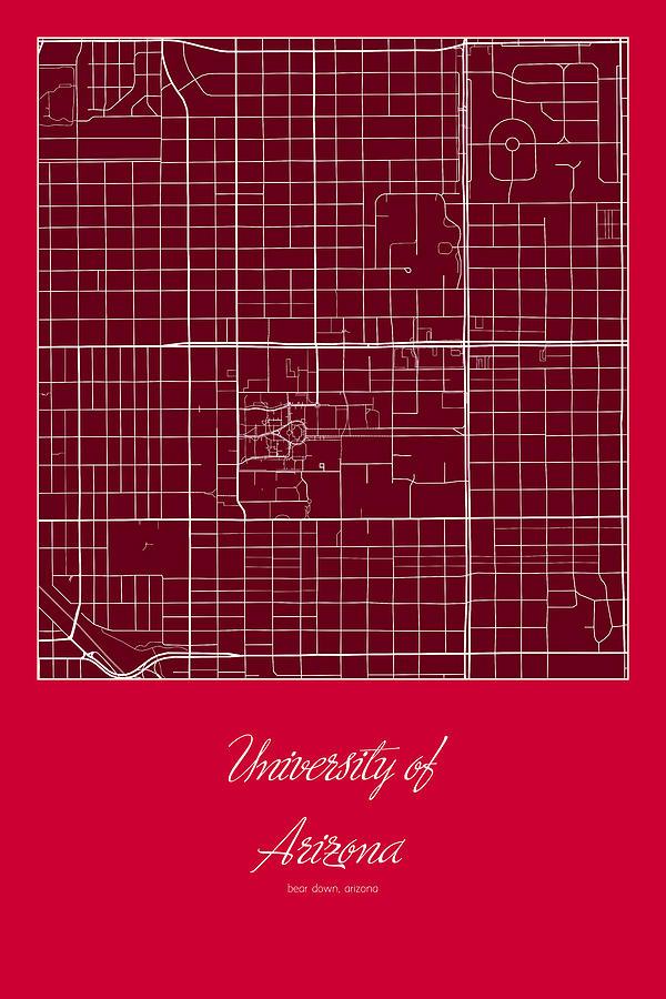 Map University Of Arizona.Uofa Street Map University Of Arizona Tucson Map By Jurq Studio