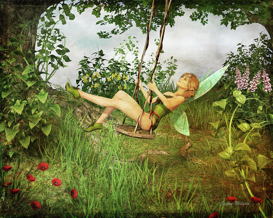 Up and Away - Vintage Fairy on a Swing by Jayne Wilson
