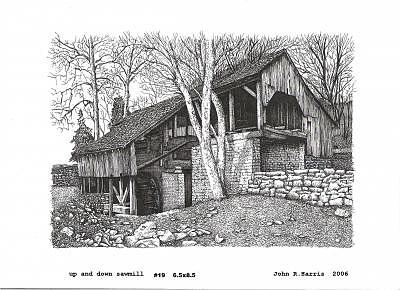 Up And Down Sawmill Drawing by John  R Harris