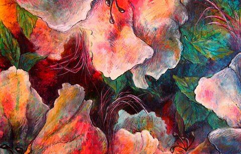 Floral Painting - Up Close And In Between by Tracey Flanigan