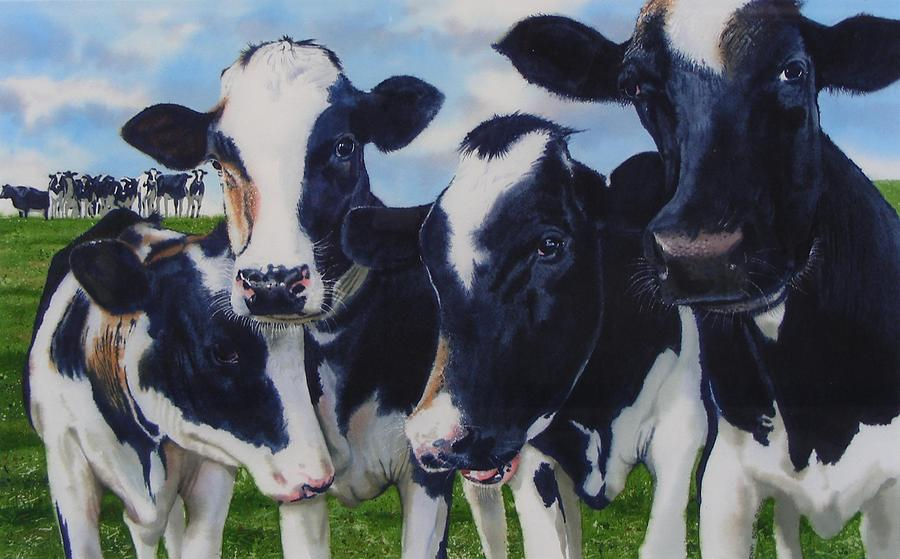 Cows Painting - Up Front by Denny Bond