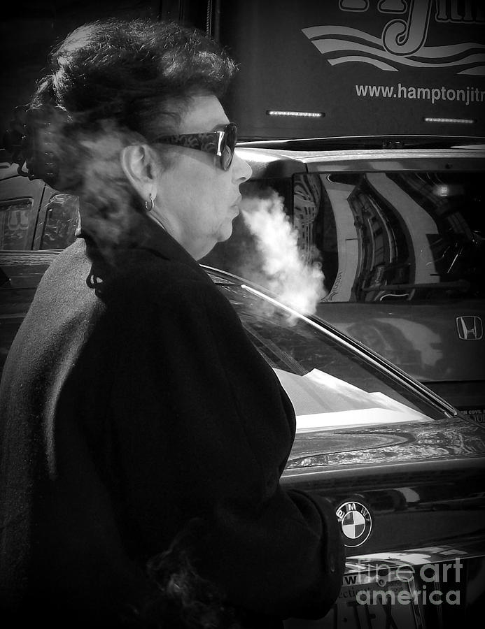 Street Photography Photograph - Up In Smoke - Woman With Cigarette by Miriam Danar