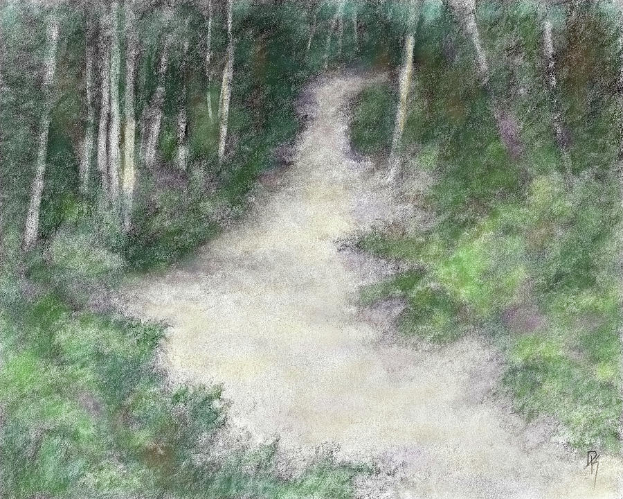 Drawing Digital Art - Up Into The Woods Colorized by David King