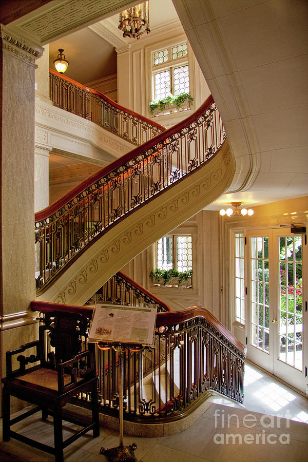 Up The Down Staircase Pittock Mansion Portland Oregon Photograph By Sherry Curry