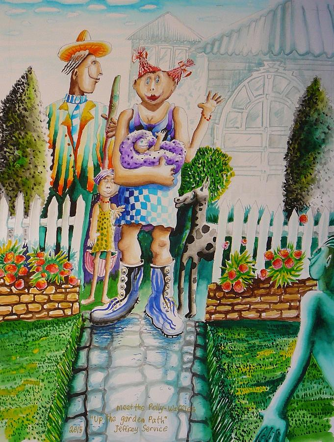 Family Painting - Up The Garden Path by Jeffrey Service