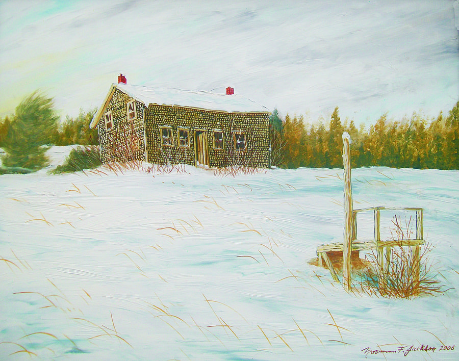 Old House Painting - Up The Hill by Norman F Jackson
