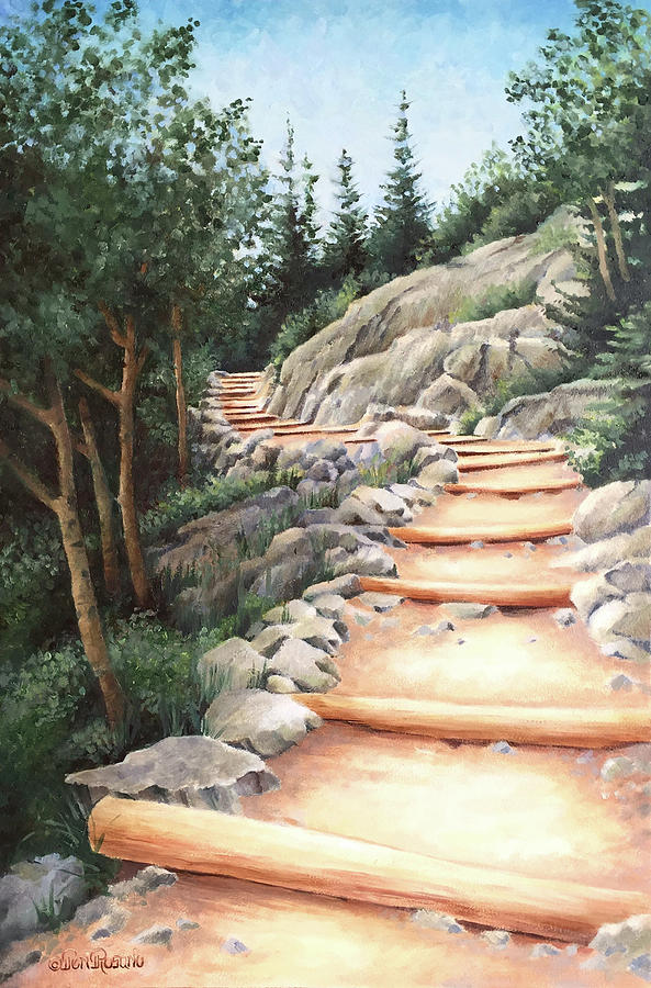 Landscape Painting - Up the Mountain by Teri Rosario