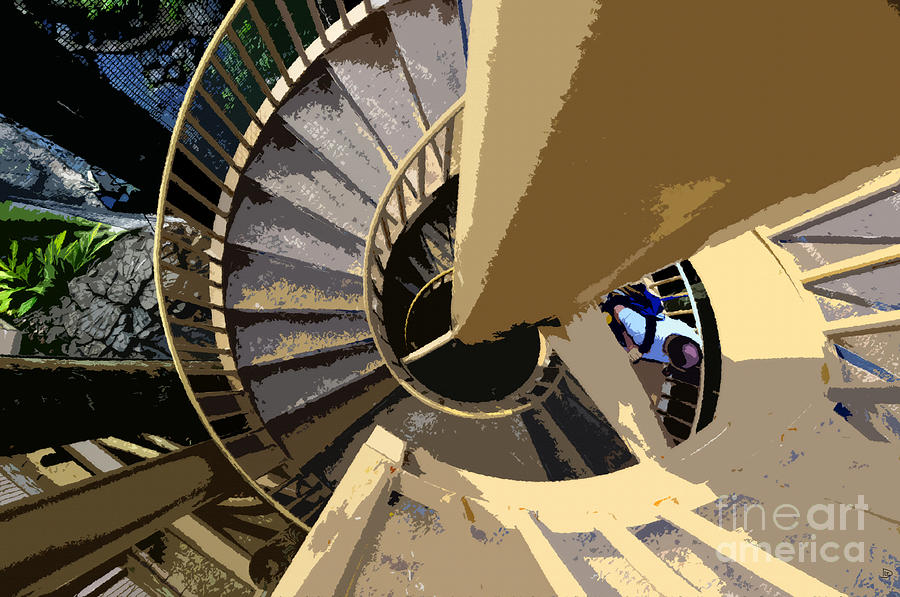 Spiral Staircase Painting - Up The Spiral Staircase by David Lee Thompson
