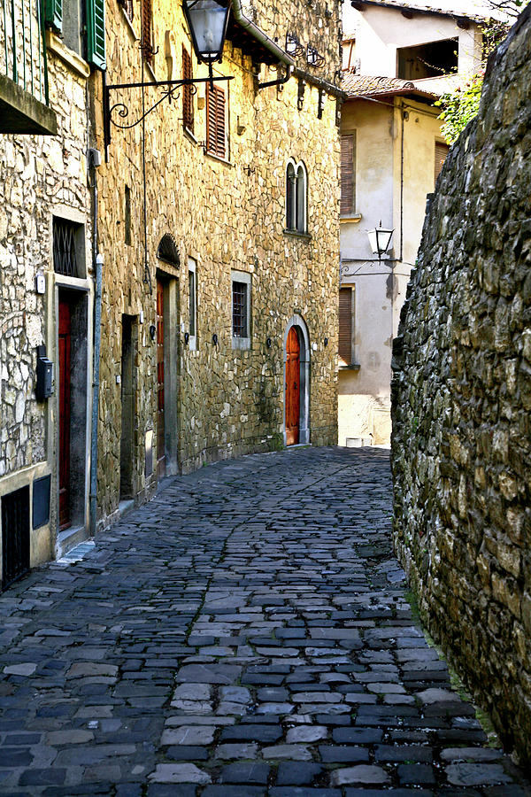Up The Street Montefioralle Tuscany Italy by Lilia Maloratskiy