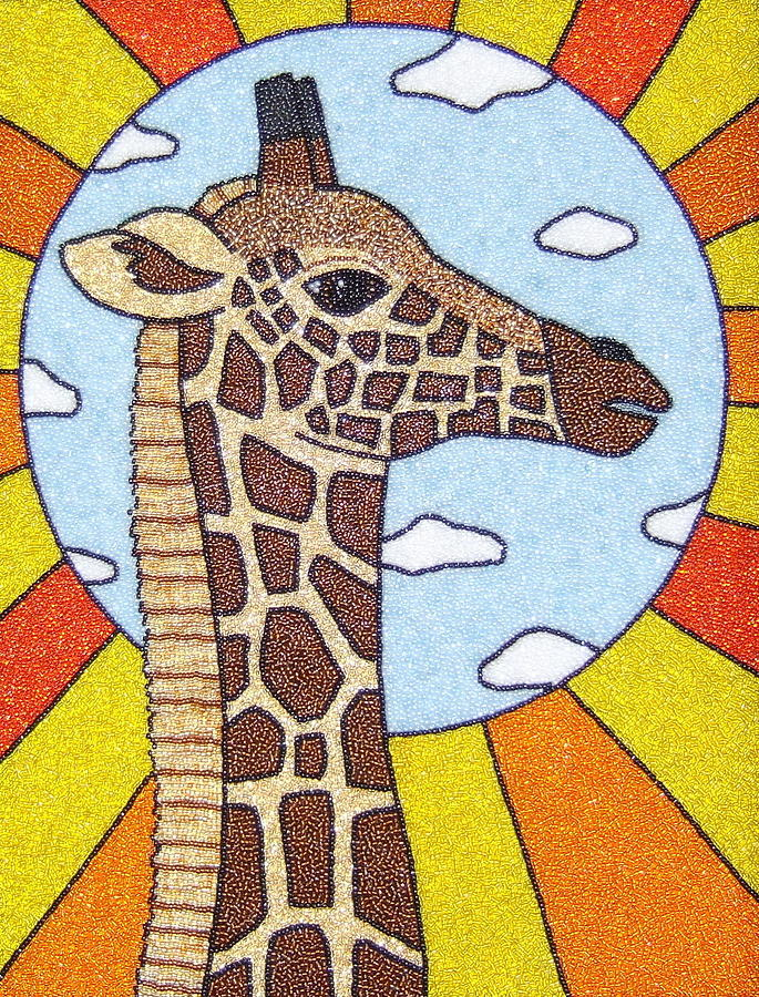 Giraffe Mixed Media - Up There by Lisa Salamendra