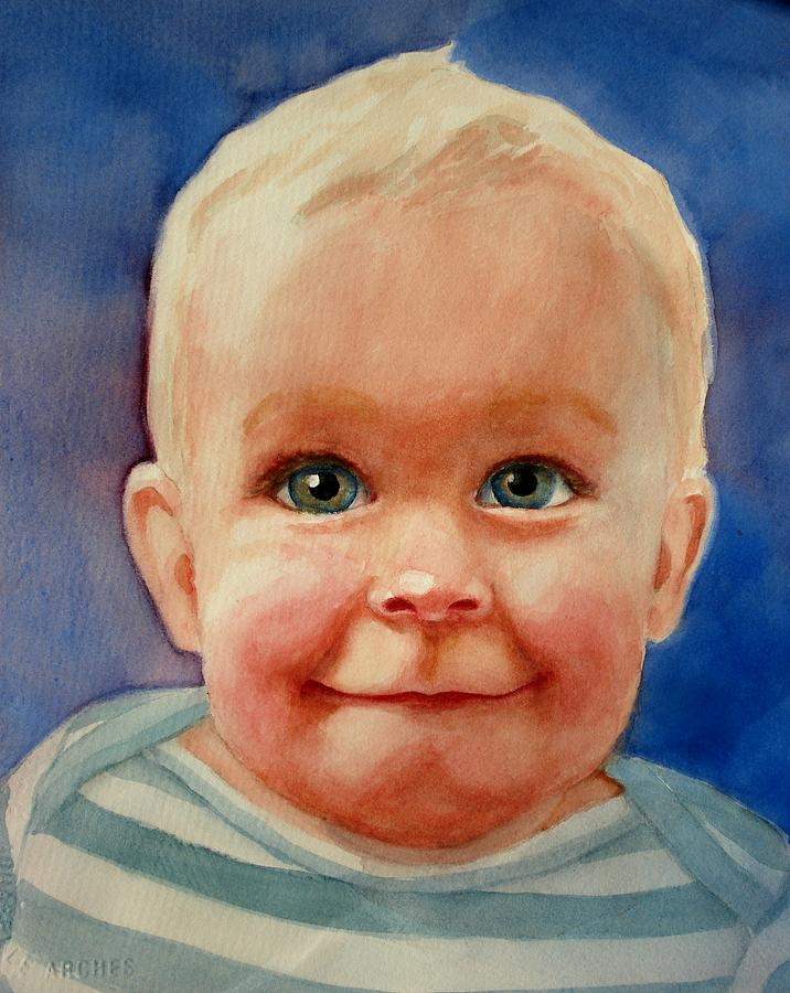 Boy Painting - Up To Something by Marilyn Jacobson