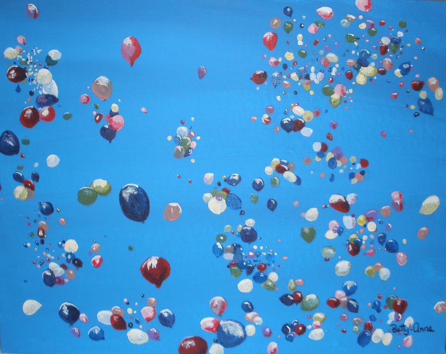 Balloons Painting - Up Up And Away by Betty-Anne McDonald