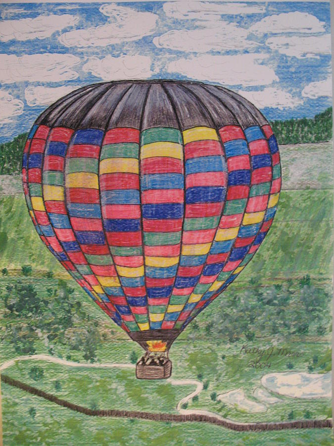 Balloon Ride Painting - Up Up And Away by Kathy Marrs Chandler