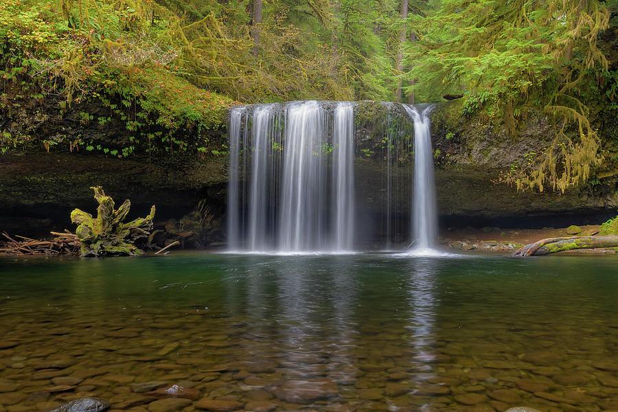 Upper Butte Creek Falls Photograph - Upper Butte Creek Falls In Fall Season by David Gn